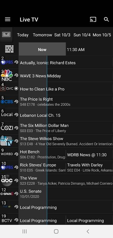 Channel listings on IPTV Bardstown Connect